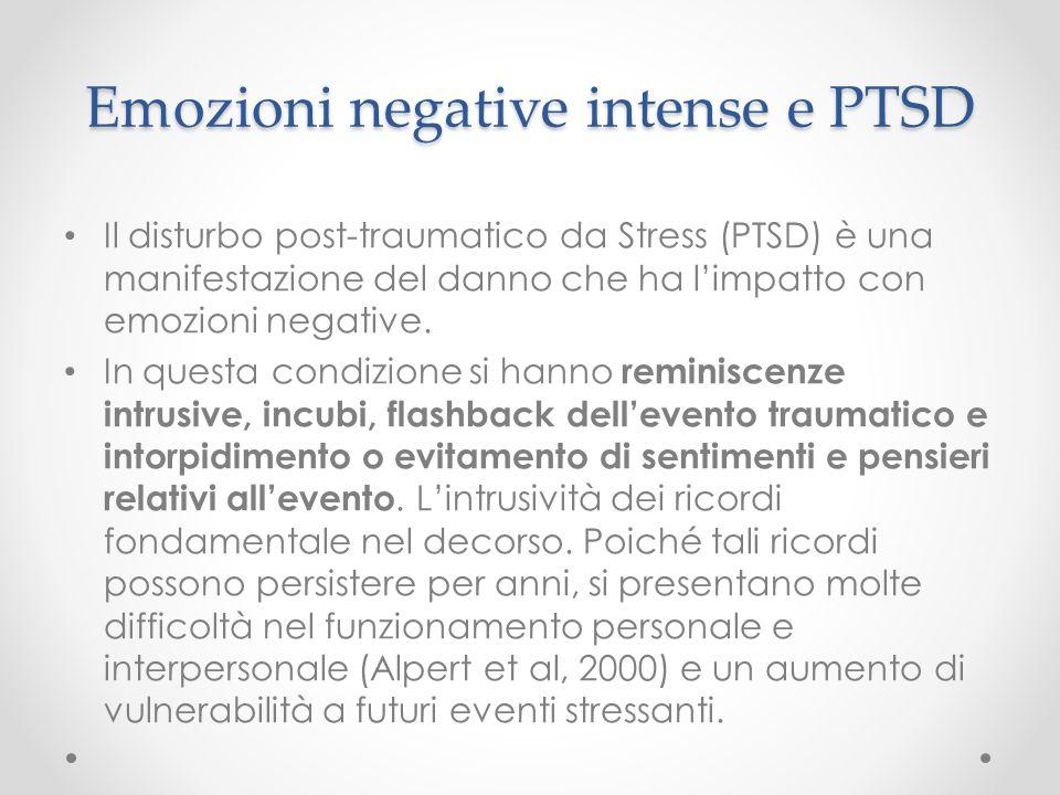 Emozioni negative intense e PTSD