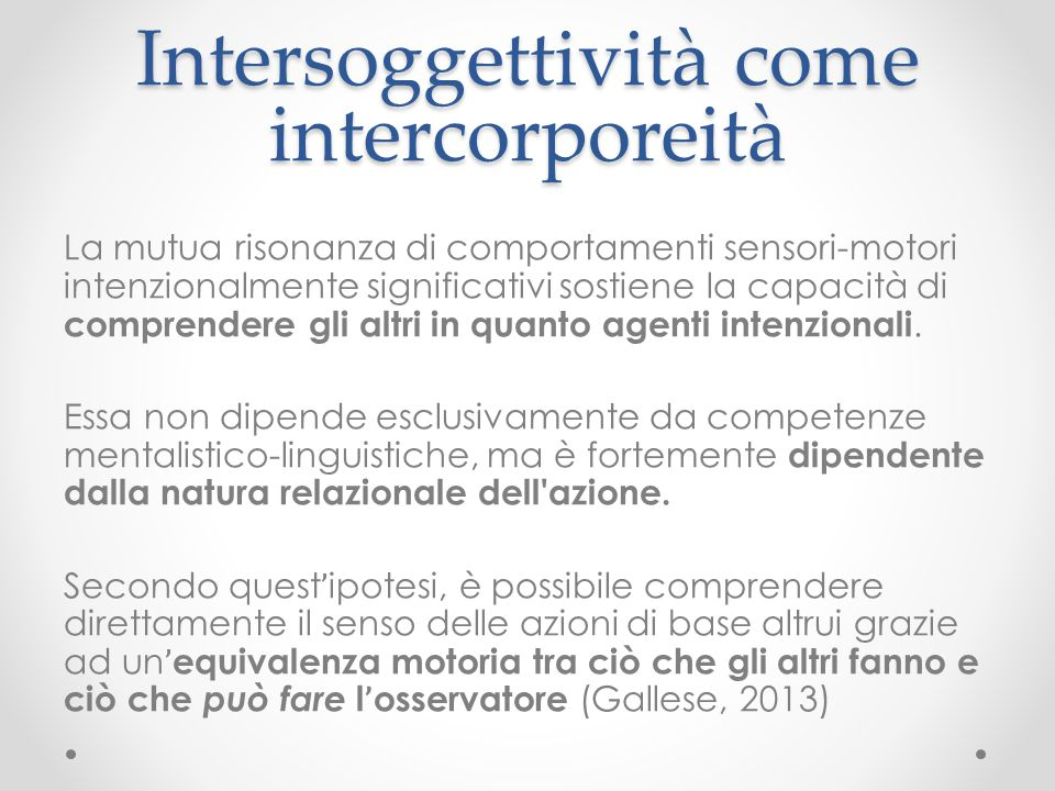 Intersoggettività come intercorporeità