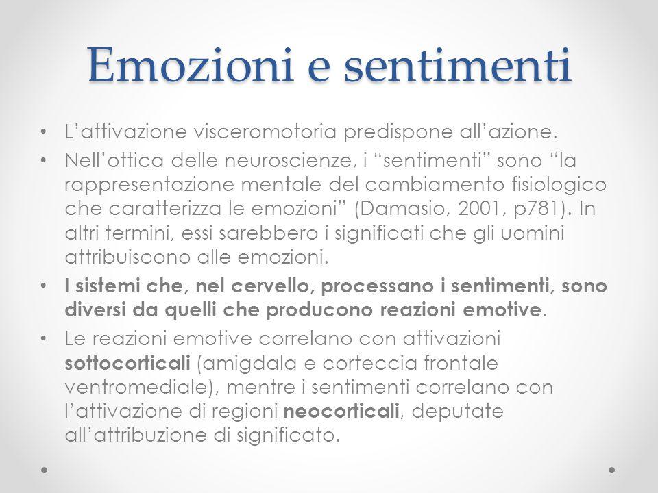 Emozioni e sentimenti L'attivazione visceromotoria predispone all'azione.