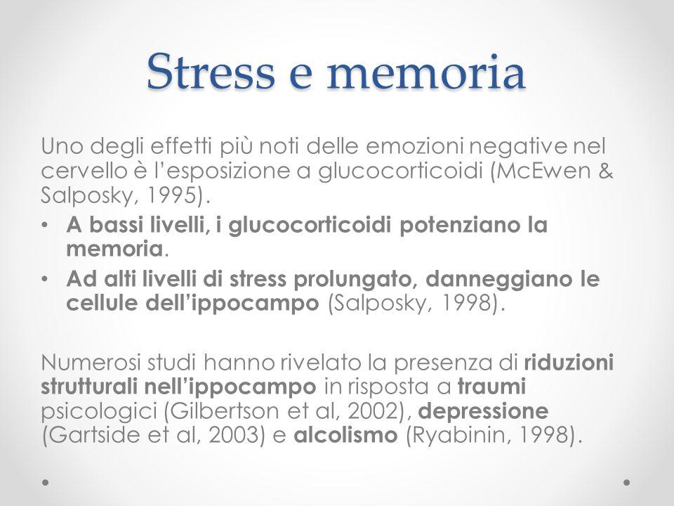 Stress e memoria Uno degli effetti più noti delle emozioni negative nel cervello è l'esposizione a glucocorticoidi (McEwen & Salposky, 1995).