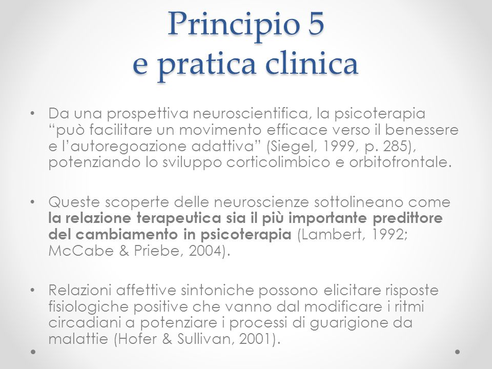 Principio 5 e pratica clinica