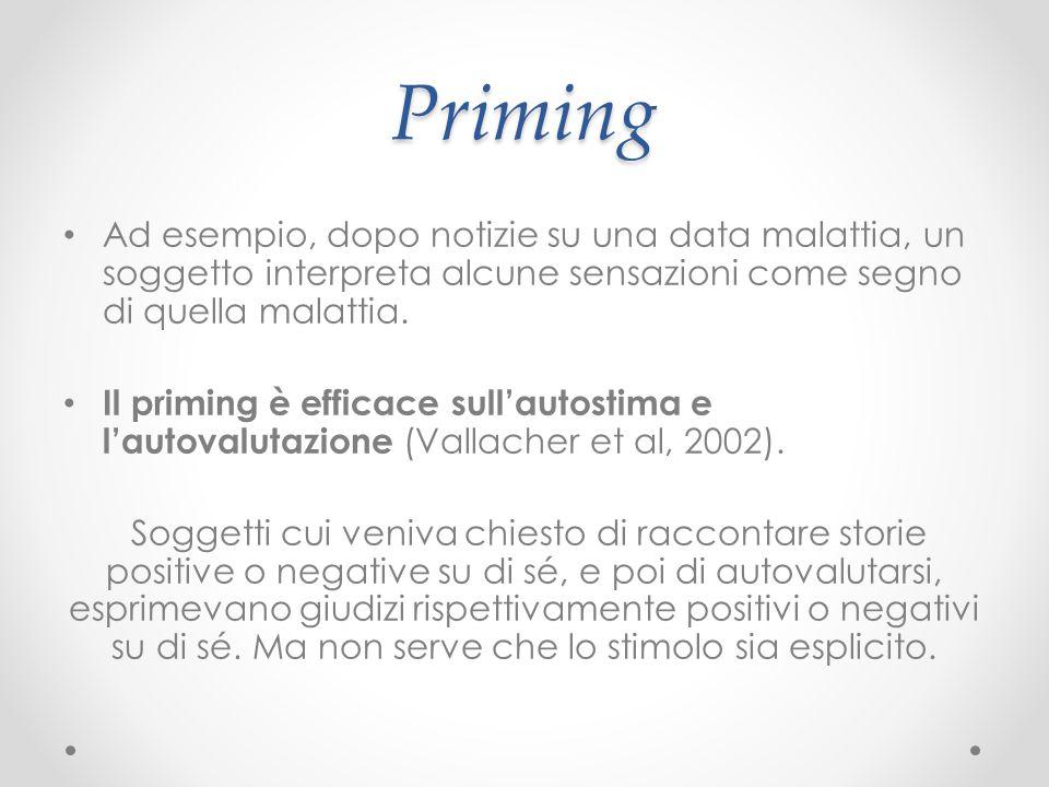 Priming Ad esempio, dopo notizie su una data malattia, un soggetto interpreta alcune sensazioni come segno di quella malattia.