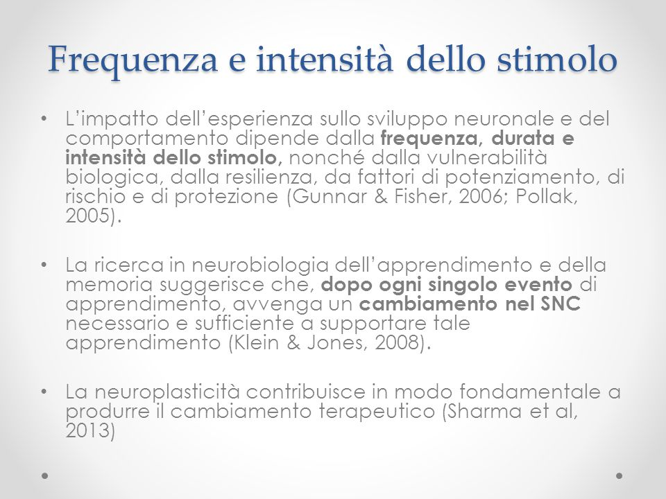 Frequenza e intensità dello stimolo