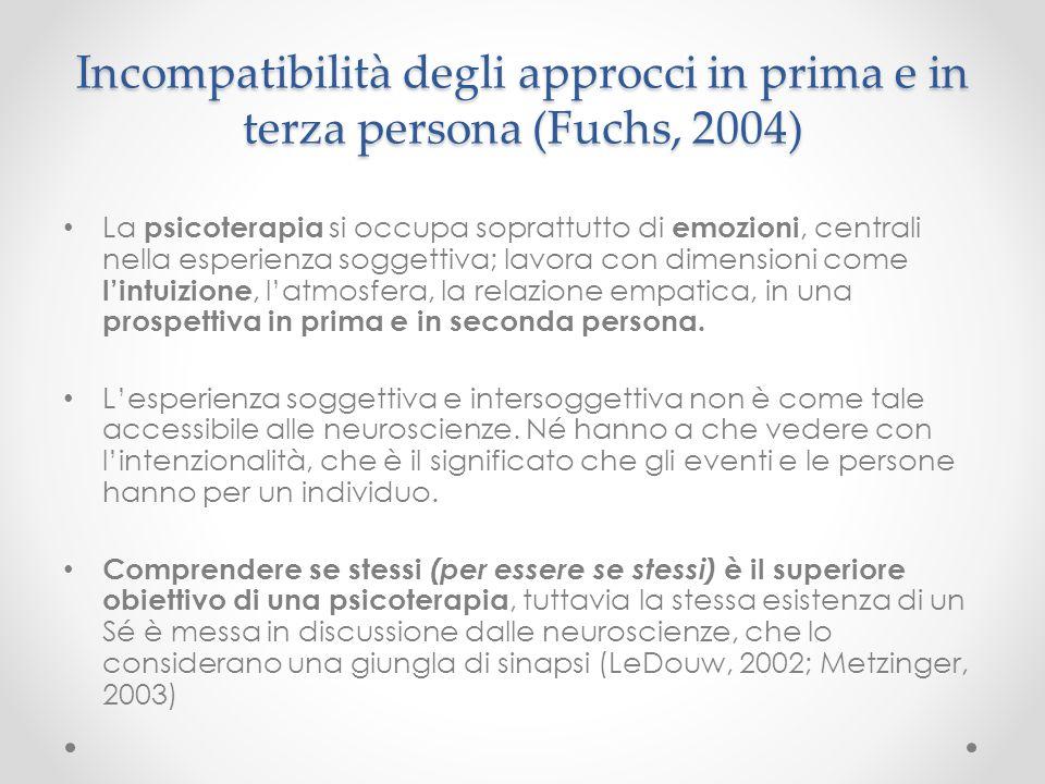Incompatibilità degli approcci in prima e in terza persona (Fuchs, 2004)