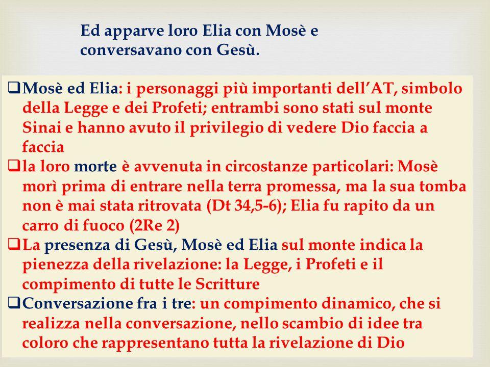 Ed apparve loro Elia con Mosè e conversavano con Gesù.