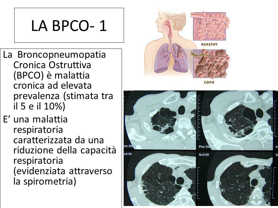LA BPCO- 1 La Broncopneumopatia Cronica Ostruttiva (BPCO) è malattia cronica ad elevata prevalenza (stimata tra il 5 e il 10%)