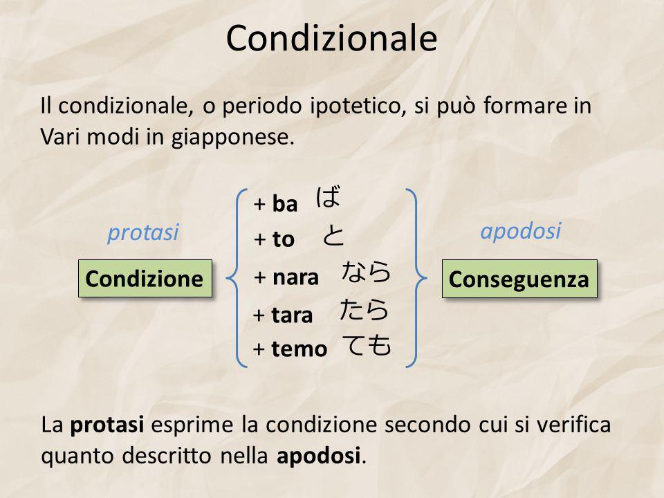 Condizionale Il condizionale, o periodo ipotetico, si può formare in