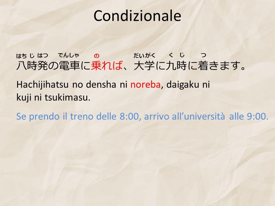 Condizionale 八時発の電車に乗れば、大学に九時に着きます。
