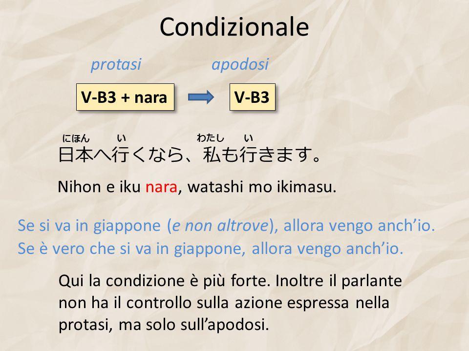 Condizionale protasi apodosi V-B3 + nara V-B3 日本へ行くなら、私も行きます。