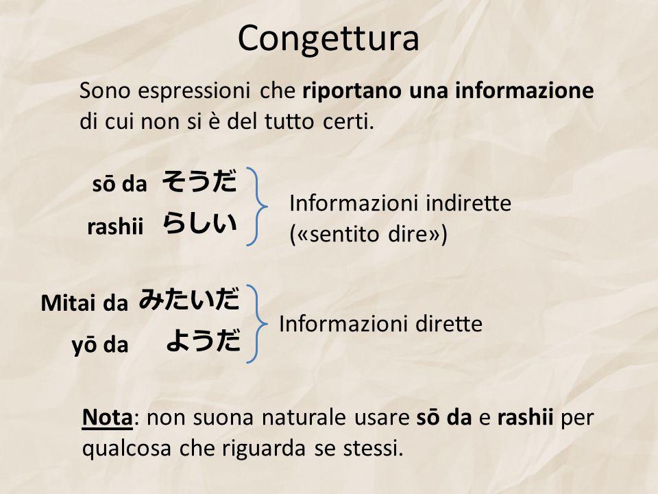 Congettura Sono espressioni che riportano una informazione di cui non si è del tutto certi. sō da.