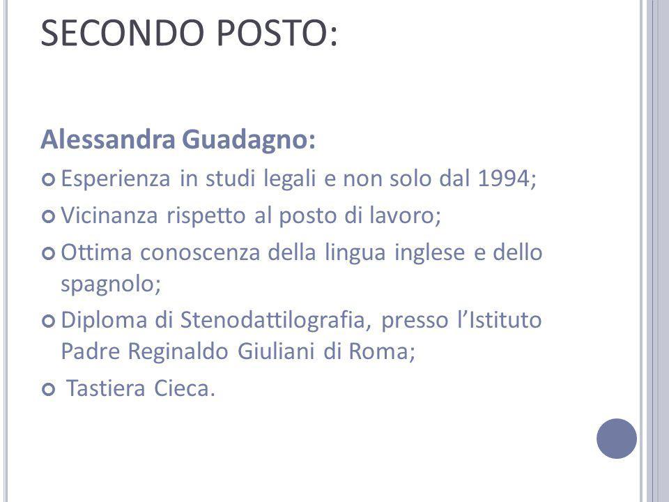 SECONDO POSTO: Alessandra Guadagno: