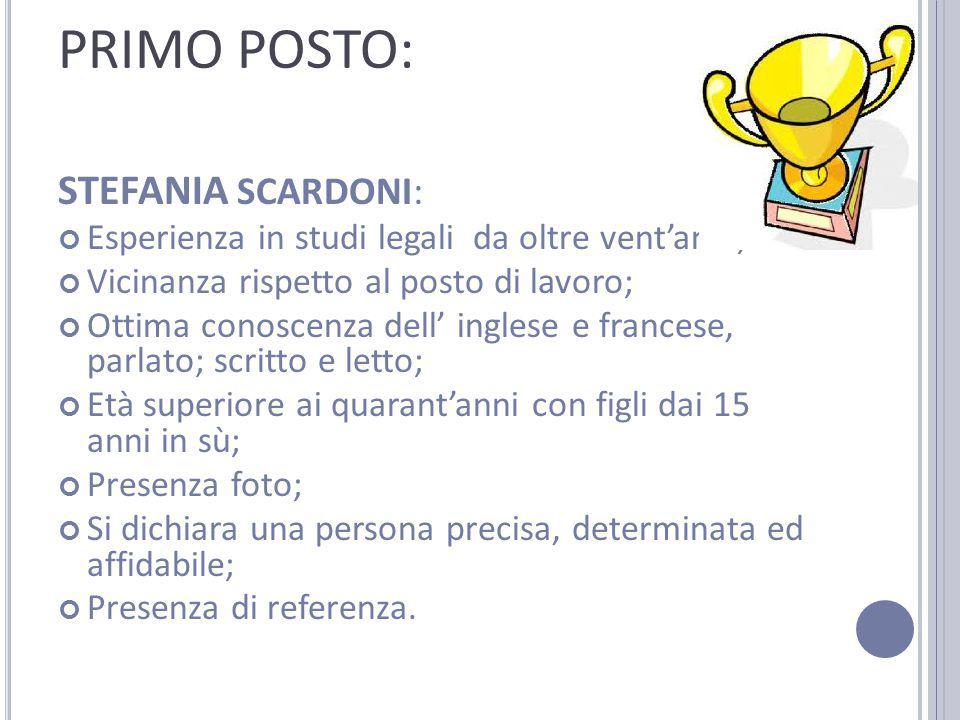 PRIMO POSTO: STEFANIA SCARDONI: