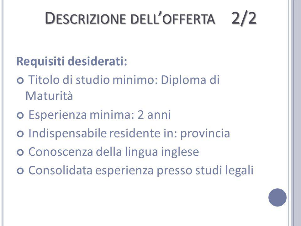 Descrizione dell'offerta 2/2