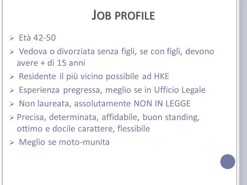 Job profile Età 42-50. Vedova o divorziata senza figli, se con figli, devono avere + di 15 anni.