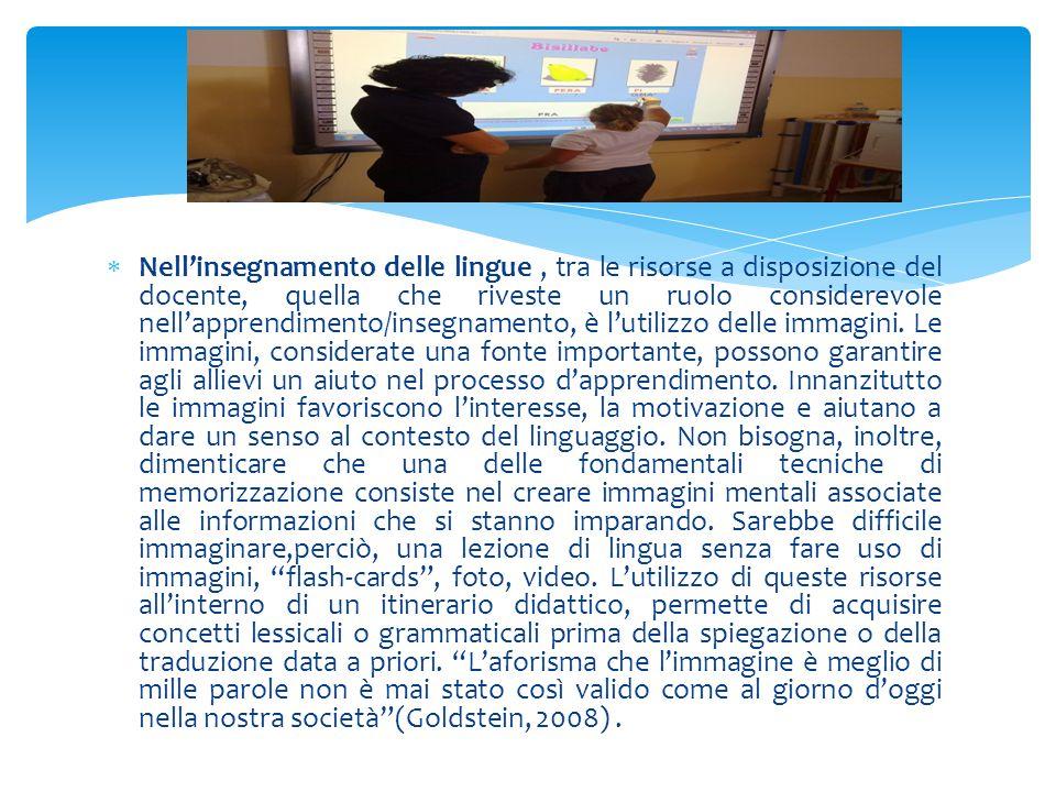 Nell'insegnamento delle lingue , tra le risorse a disposizione del docente, quella che riveste un ruolo considerevole nell'apprendimento/insegnamento, è l'utilizzo delle immagini.
