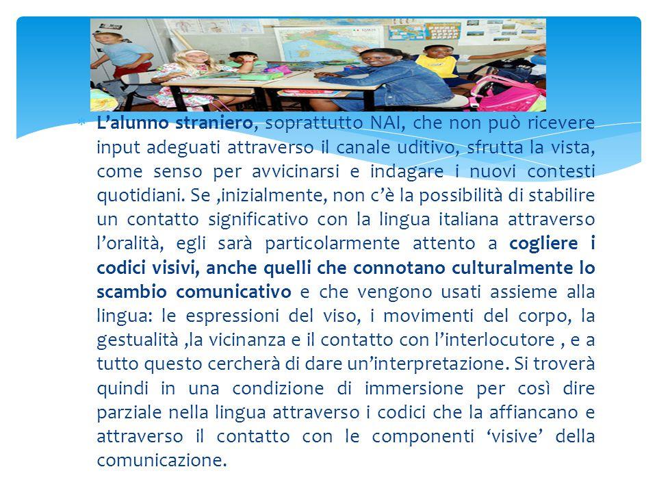 L'alunno straniero, soprattutto NAI, che non può ricevere input adeguati attraverso il canale uditivo, sfrutta la vista, come senso per avvicinarsi e indagare i nuovi contesti quotidiani.