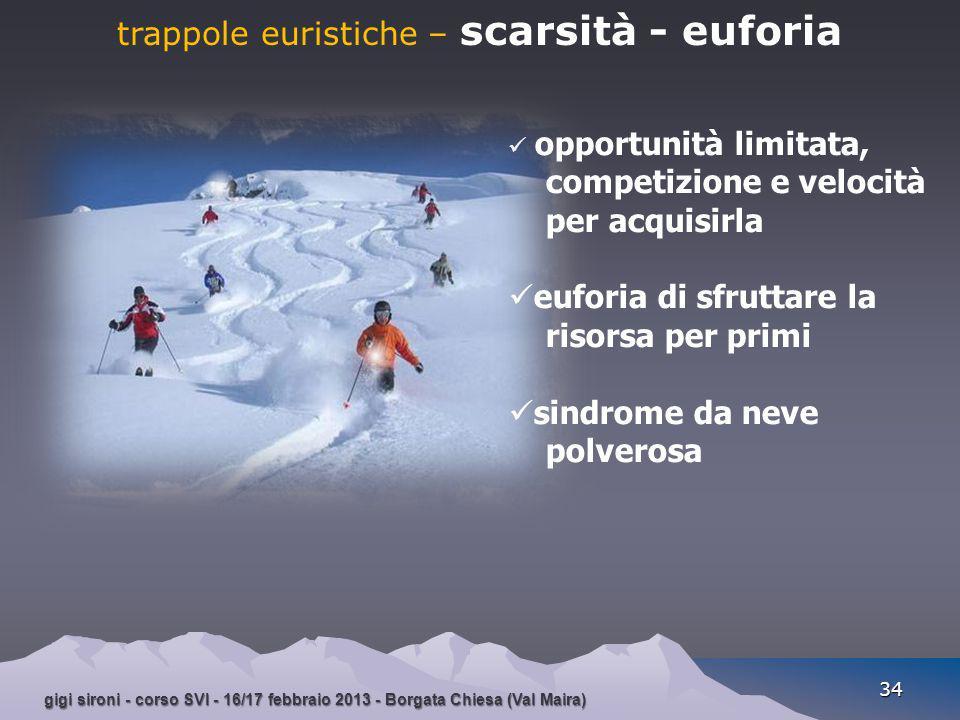 trappole euristiche – scarsità - euforia