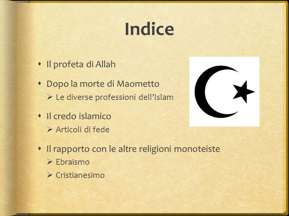 Indice Il profeta di Allah Dopo la morte di Maometto Il credo islamico