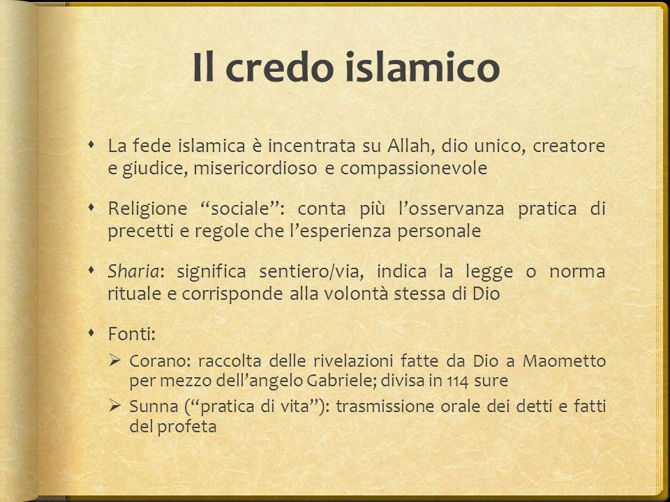 Il credo islamico La fede islamica è incentrata su Allah, dio unico, creatore e giudice, misericordioso e compassionevole.
