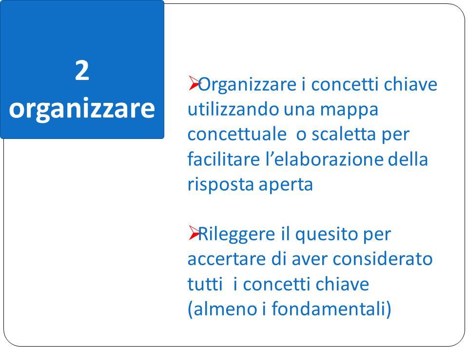 2 organizzare. Organizzare i concetti chiave utilizzando una mappa concettuale o scaletta per facilitare l'elaborazione della risposta aperta.