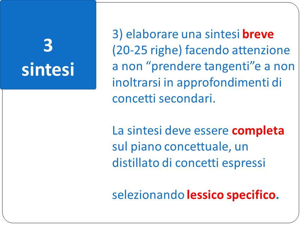 3 sintesi 3) elaborare una sintesi breve