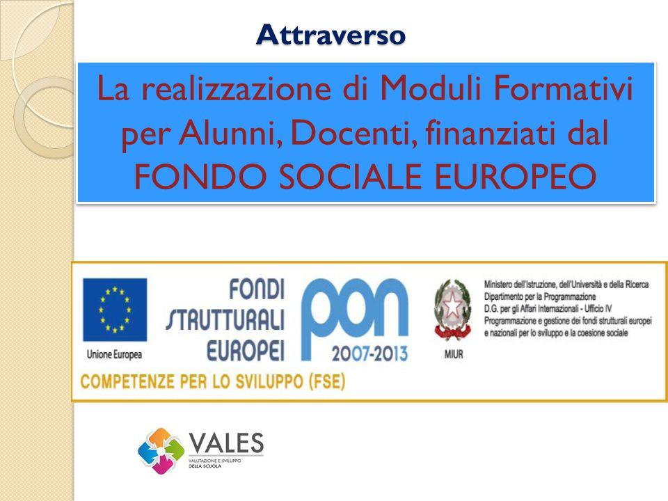 Attraverso La realizzazione di Moduli Formativi per Alunni, Docenti, finanziati dal FONDO SOCIALE EUROPEO.