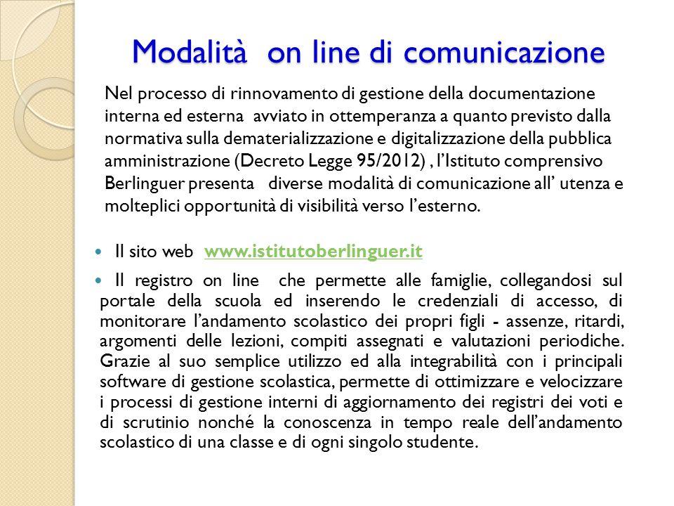 Modalità on line di comunicazione