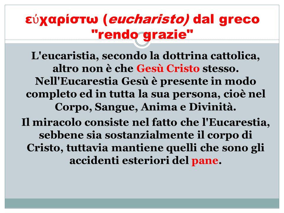 εὐχαρίστω (eucharisto) dal greco rendo grazie