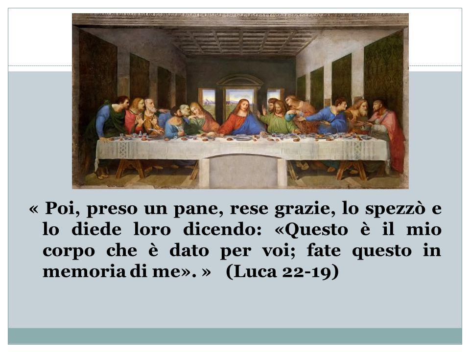 « Poi, preso un pane, rese grazie, lo spezzò e lo diede loro dicendo: «Questo è il mio corpo che è dato per voi; fate questo in memoria di me». » (Luca 22-19)