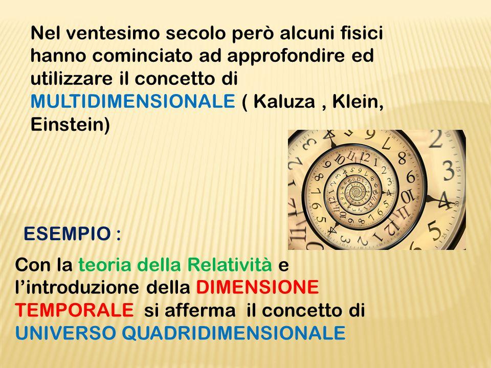 Nel ventesimo secolo però alcuni fisici hanno cominciato ad approfondire ed utilizzare il concetto di MULTIDIMENSIONALE ( Kaluza , Klein, Einstein)