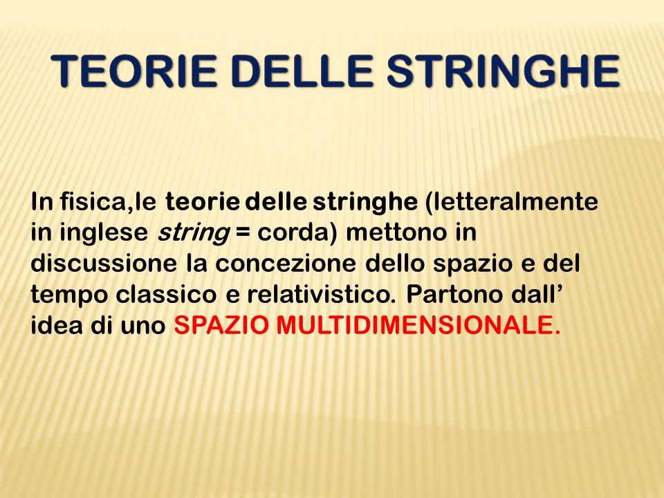 TEORIE DELLE STRINGHE