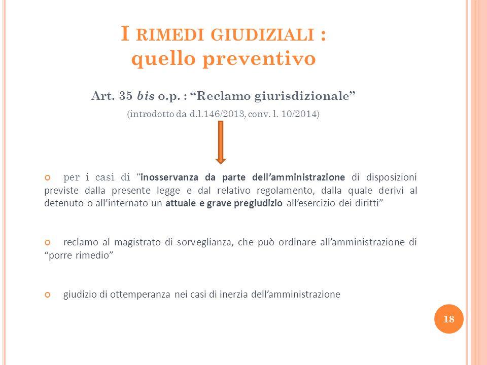 I rimedi giudiziali : quello preventivo