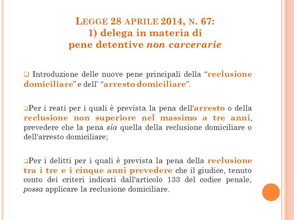 Legge 28 aprile 2014, n. 67: 1) delega in materia di pene detentive non carcerarie
