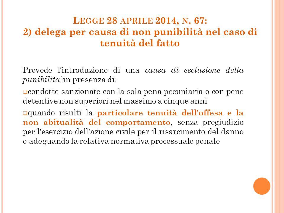 Legge 28 aprile 2014, n. 67: 2) delega per causa di non punibilità nel caso di tenuità del fatto