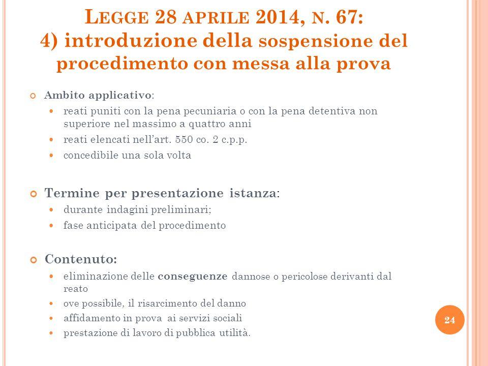 Legge 28 aprile 2014, n. 67: 4) introduzione della sospensione del procedimento con messa alla prova
