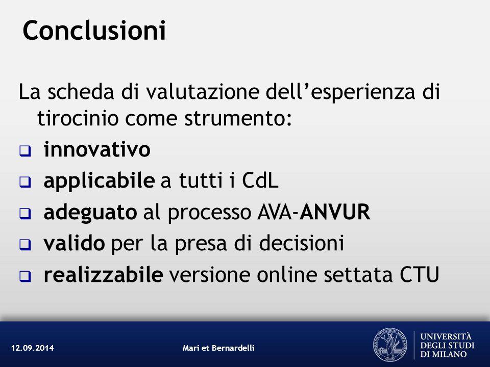 Conclusioni La scheda di valutazione dell'esperienza di tirocinio come strumento: innovativo. applicabile a tutti i CdL.