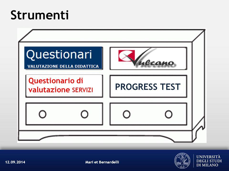 Strumenti PROGRESS TEST Questionario di valutazione servizi 12.09.2014