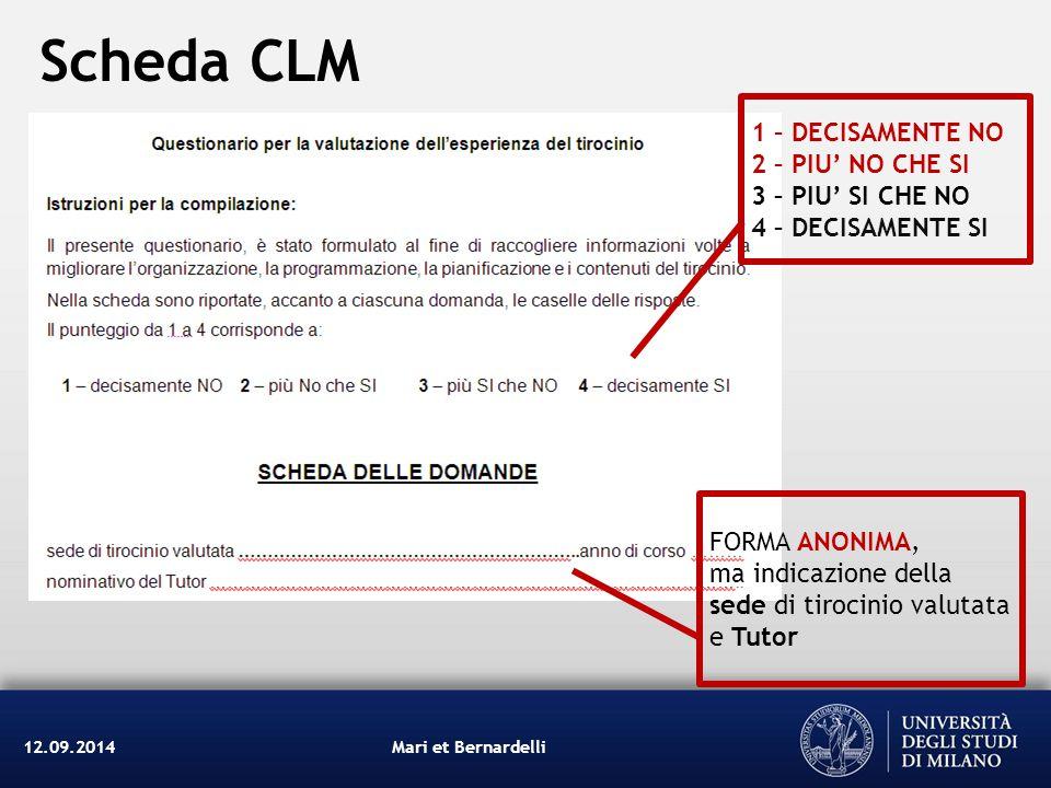 Scheda CLM 1 – DECISAMENTE NO 2 – PIU' NO CHE SI 3 – PIU' SI CHE NO