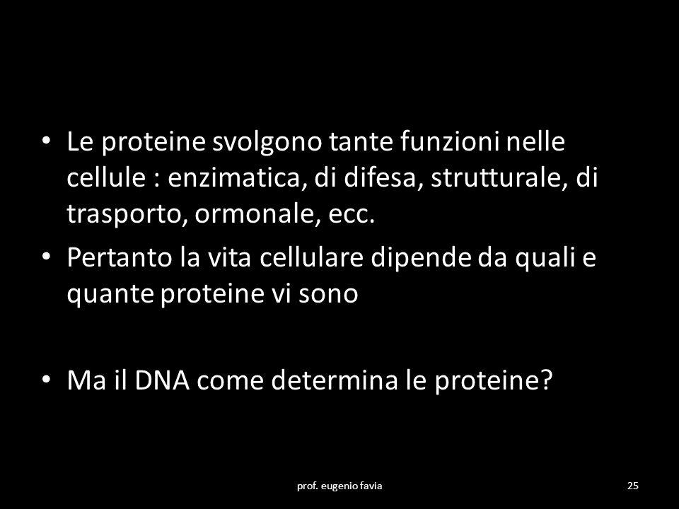 Pertanto la vita cellulare dipende da quali e quante proteine vi sono