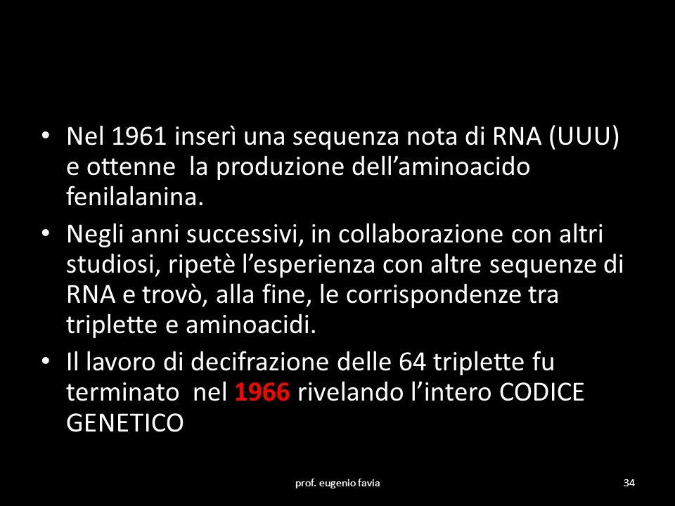 Nel 1961 inserì una sequenza nota di RNA (UUU) e ottenne la produzione dell'aminoacido fenilalanina.