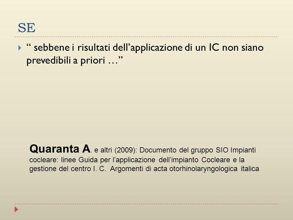 SE sebbene i risultati dell'applicazione di un IC non siano prevedibili a priori …