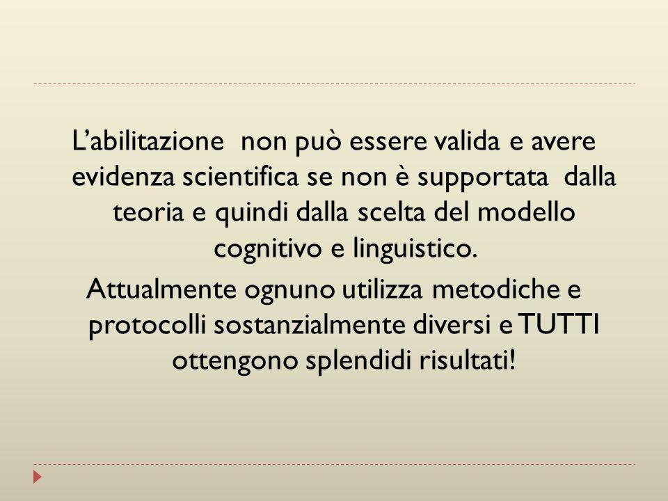 L'abilitazione non può essere valida e avere evidenza scientifica se non è supportata dalla teoria e quindi dalla scelta del modello cognitivo e linguistico.