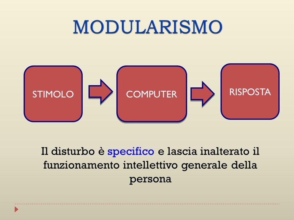 MODULARISMO RISPOSTA. STIMOLO. COMPUTER.