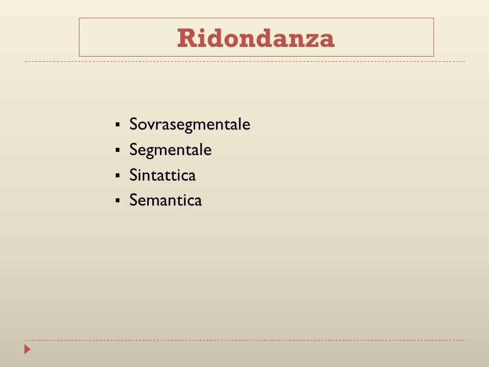 Ridondanza Sovrasegmentale Segmentale Sintattica Semantica