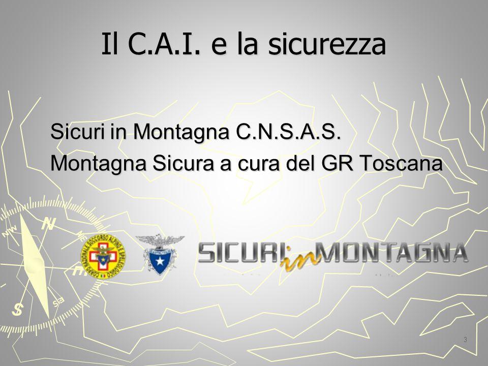Il C.A.I. e la sicurezza Sicuri in Montagna C.N.S.A.S. Montagna Sicura a cura del GR Toscana