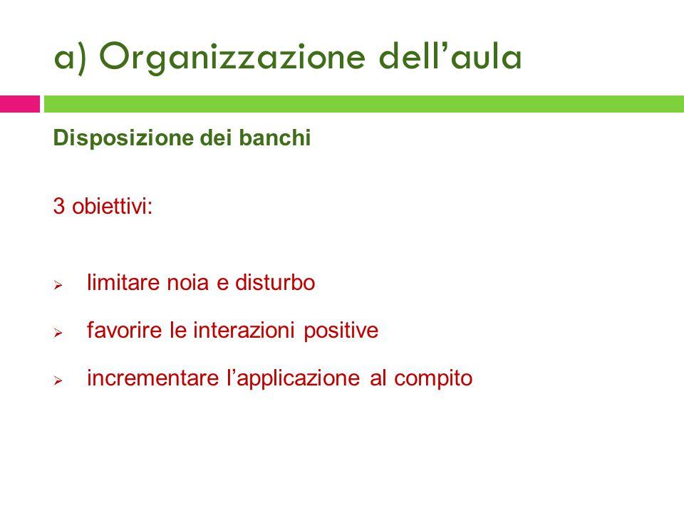 a) Organizzazione dell'aula