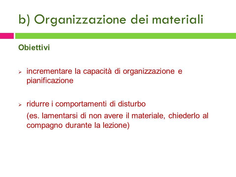 b) Organizzazione dei materiali