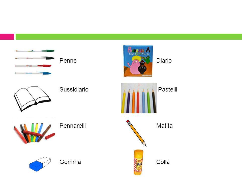 Penne Diario Sussidiario Pastelli Pennarelli Matita Gomma Colla
