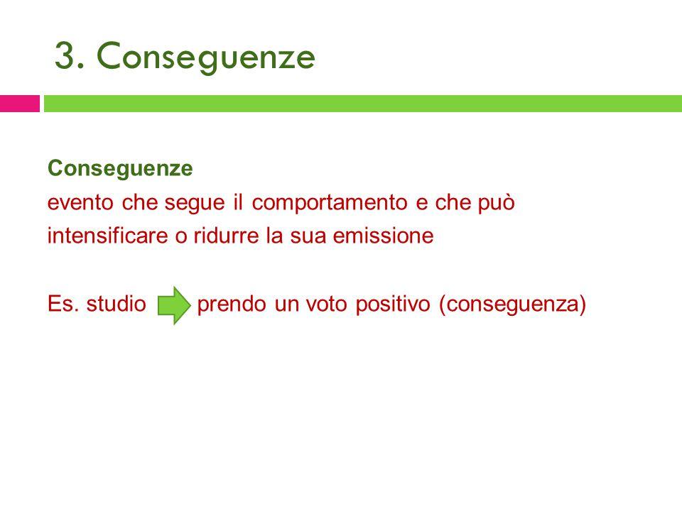 3. Conseguenze Conseguenze evento che segue il comportamento e che può