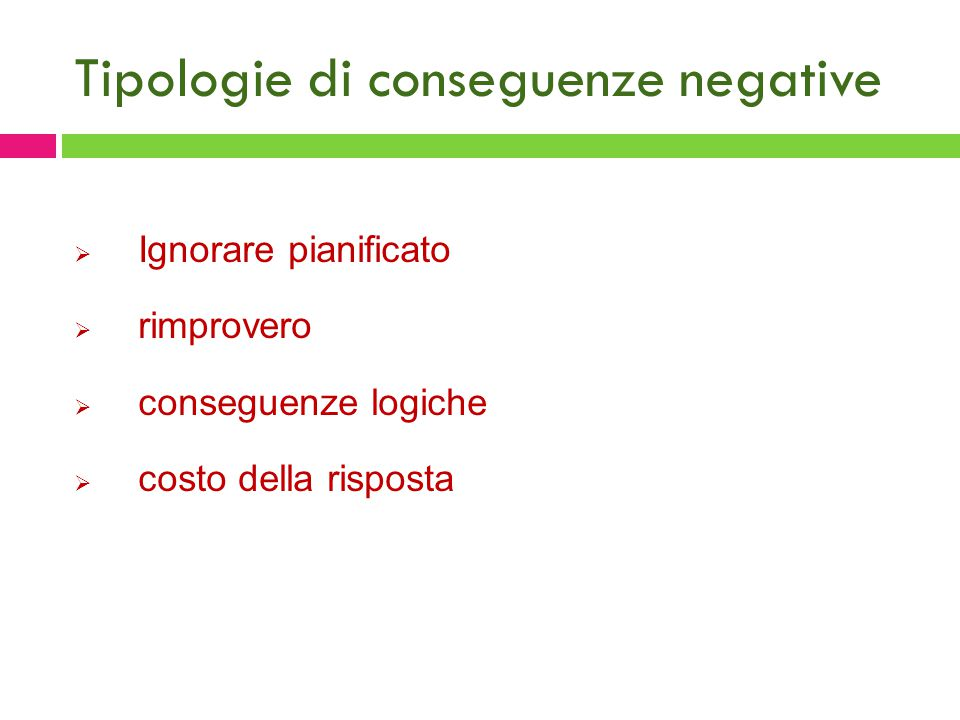 Tipologie di conseguenze negative